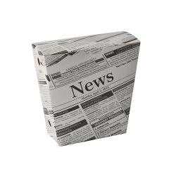 "Krabička na hranolky 4,3 cm x 14,5 cm x 11 cm, ""Novinová potlač"", s vekom (50ks)"