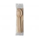 Bio balený príbor drevo-vidlička-nož- lyžica- servitka  (50/400ks)